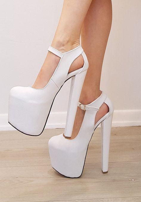 e208283a1d5 White Classic Ankle High Heel Platform Shoes | fashion | Heels ...