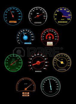 一連の様々 な加速とダイヤルおよびゲージ針ポインターと番号スケール、ベクトル図を photo