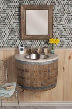27 Inch Single Sink Bath Vanity In Natural Oak Uvntvnw24124 Wine Barrel Furniture Barrel Furniture Barrel Sink