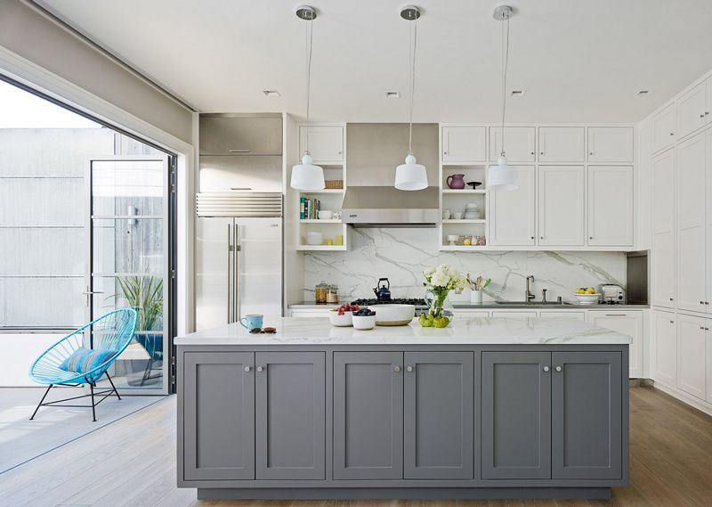Pin On My House Kitchen, White Shaker Kitchen Cabinets With Gray Island