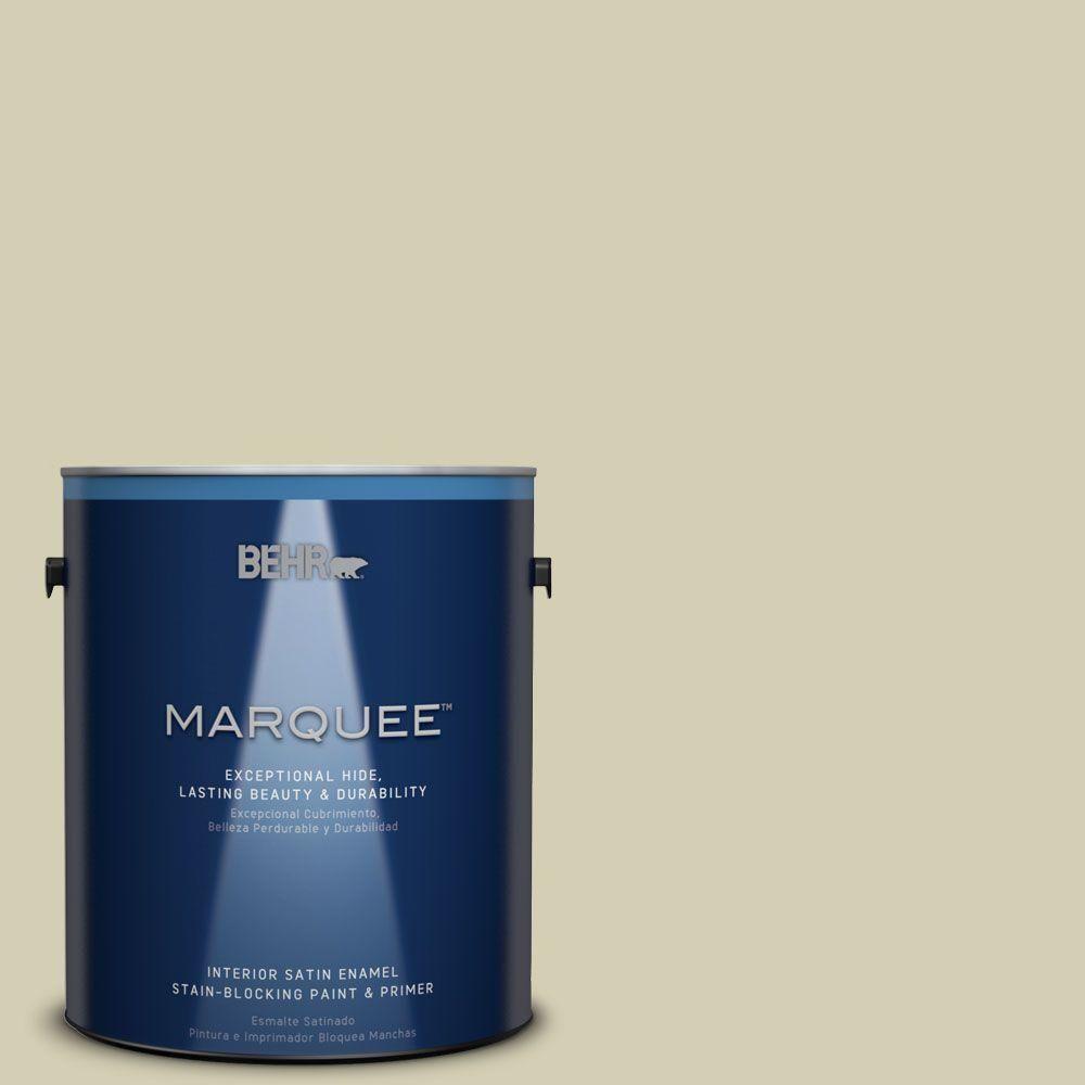 BEHR MARQUEE 1 gal. #MQ6-55 Pale Ivy One-Coat Hide Satin Enamel Interior Paint