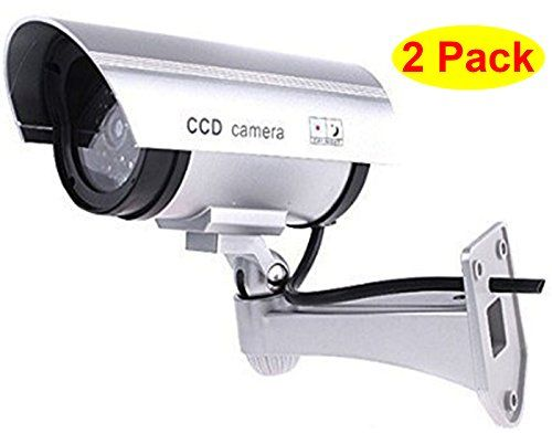 Hosl 2 pack outdoor fake dummy security camera with blinking light hosl 2 pack outdoor fake dummy security camera with blinking light silver mozeypictures Choice Image