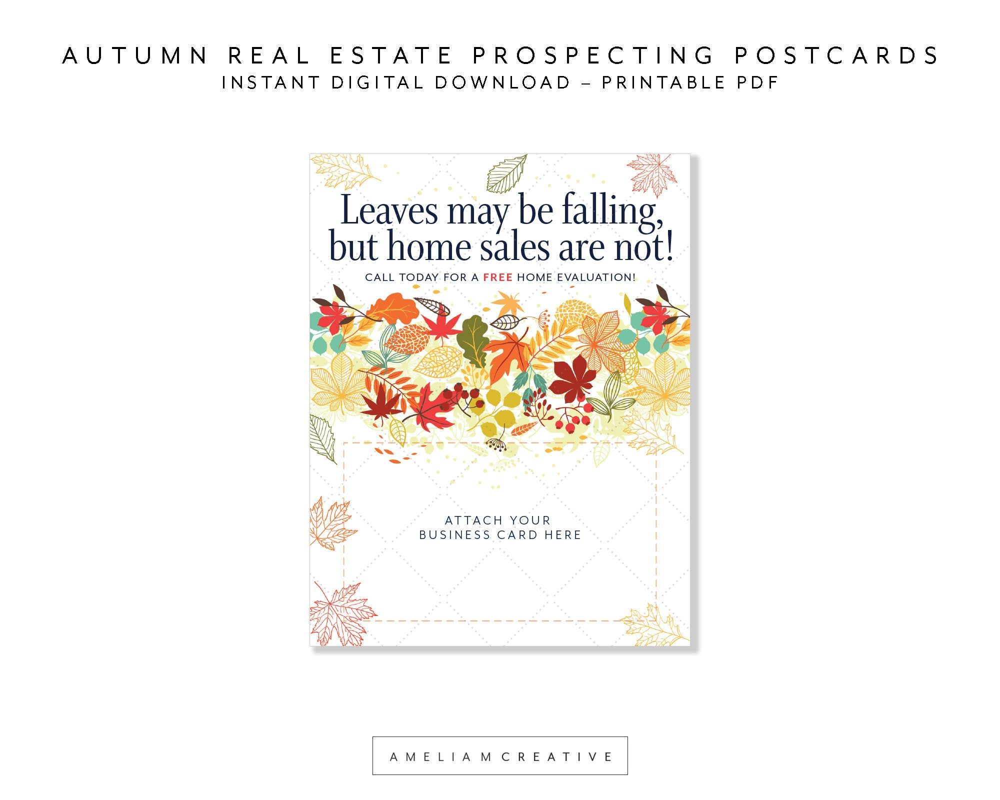 Autumn Real Estate Prospecting Postcard Printables