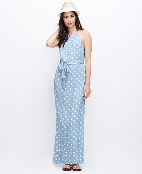 e781229462c Beautiful pale blue and bold dots make this a must-have maxi dress ...
