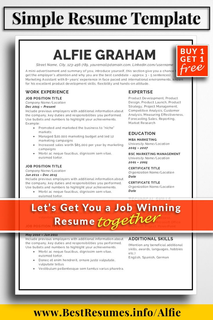 Resume Template Alfie Graham  Simple Resume Template Simple Resume