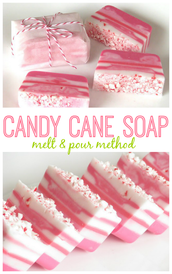 Melt and Pour Candy Cane Soap Tutorial for Easy Holiday Gifts!