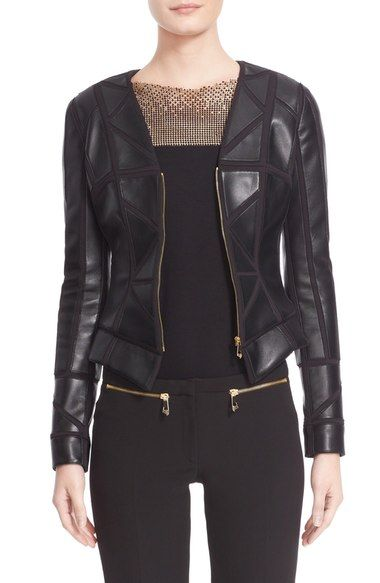 Versace Collection Leather Trim Jacket available at #Nordstrom