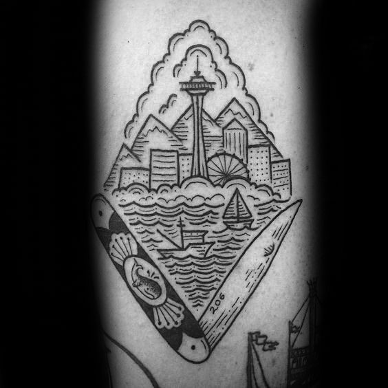 30 Seattle Skyline Tattoo Designs For Men - City Ink Ideas | My ...