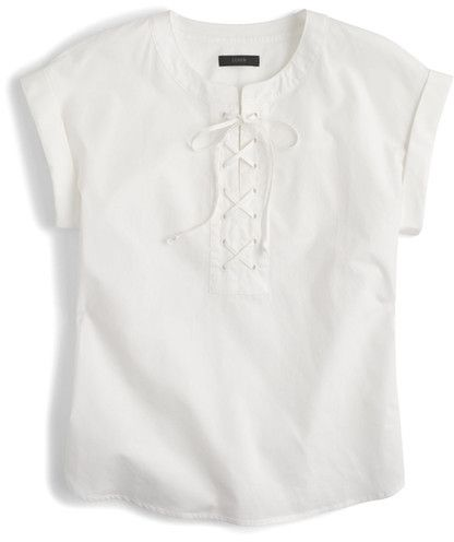 1867fd9a9ca J. Crew Lace-Up Popover Top (Regular   Petite) ad