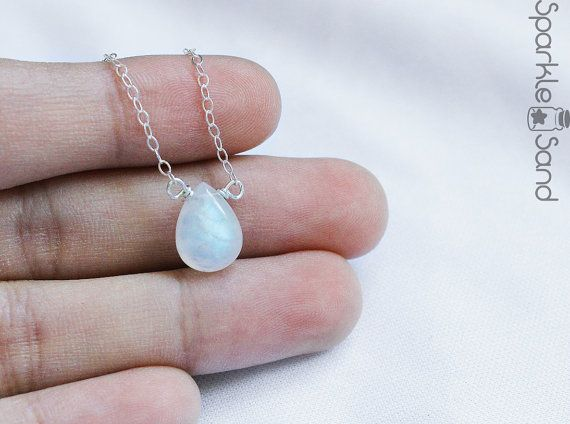 moonstone necklace June birthstone jewelry simple by SparkleSand