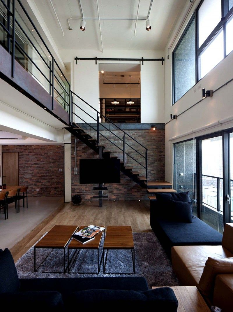 penthouse in taiwan urban style interior exterior pinterest loft wohnung stiegen und. Black Bedroom Furniture Sets. Home Design Ideas