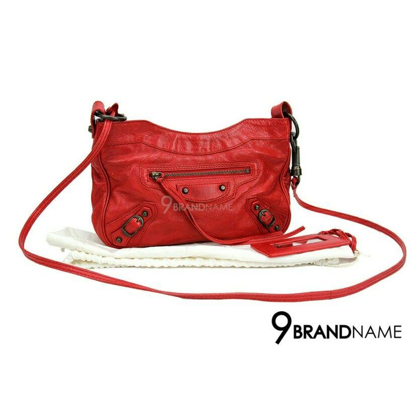 0a32e75e93d5 Used Balenciaga Mini Classic Hip Red RHW สนใจสอบถามได้นะคะ Tel  :0632491456ผึ้ง