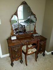 Antique Vanity Dresser Art Deco Triple Mirror 1920 S Original Not Reproduction Antique Bedroom Set Vintage Bathroom Mirrors Dresser With Mirror