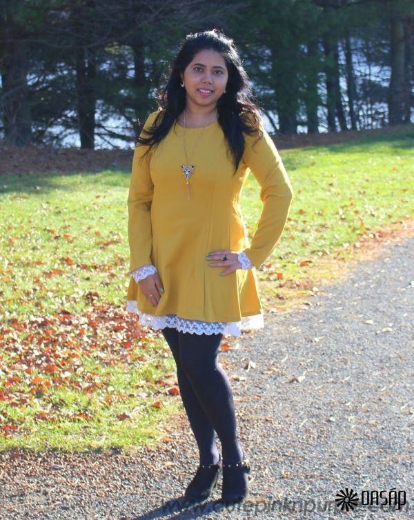 bcf245ad1d0 Elegant Lace-Up Trim Long Sleeve A-line Dress m.OASAP.com