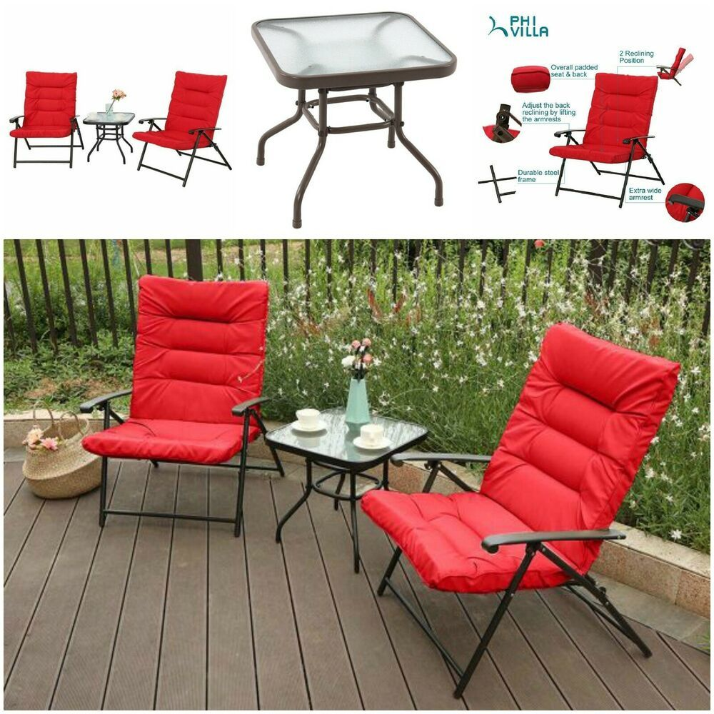 Details About 3 Piece Soft Padded Folding Chair Set Cushioned
