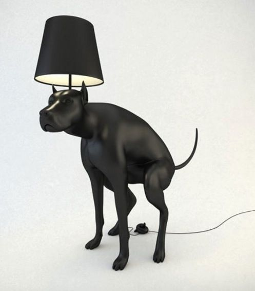 Black Dog Pooping Lamp With The On Off Switch On The Pile Of Poop