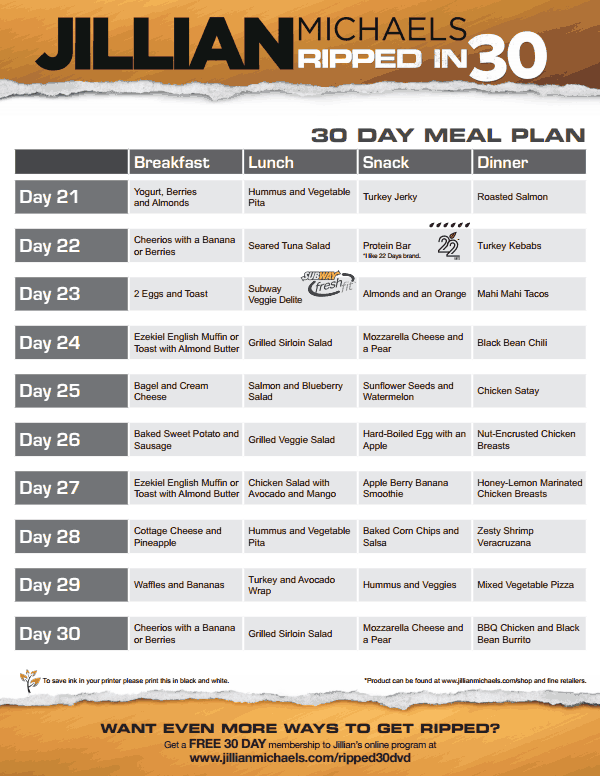 Jillian Michaels  Day Shred Food Diet