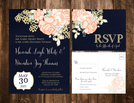 NAVY U0026 CORAL FLORAL WEDDING INVITATION SET FORMAT: 5x7 (A7), Single .  EinladungenHochzeitenMarinefarbe ...