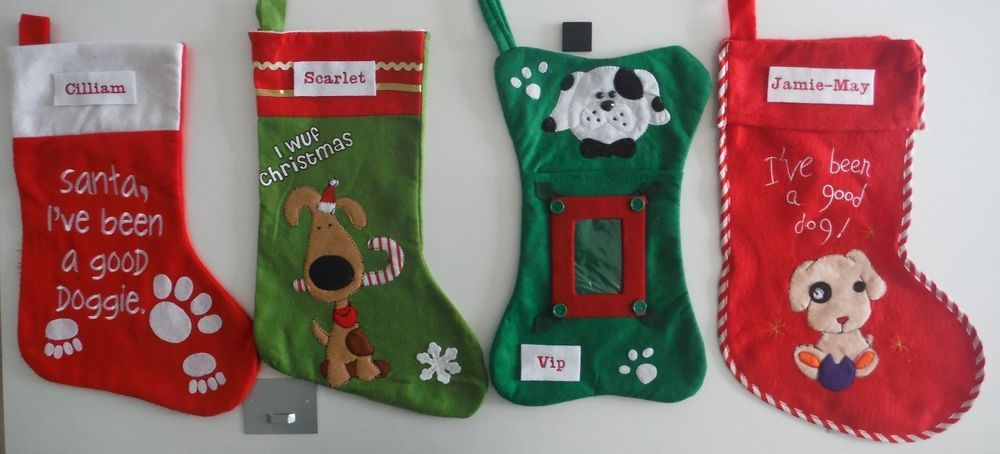 Christmas Stockings For Your Pet Dog Personalised Embroidered 4 To Choose From Ebay With Images Christmas Stockings Personalized Embroidered Stockings