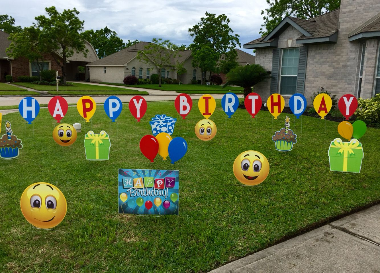 happy birthday balloon lawn letters with bright cheery emojis other yard decor
