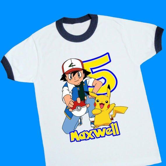 Personalized Pikacho Pokeman Birthday T-Shirt