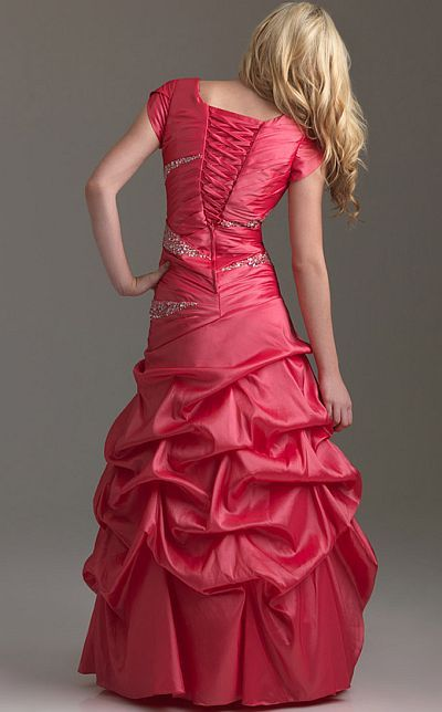 c3d55fe7eda Another image of Night Moves Modest Prom Dress with Short Sleeves 6576M