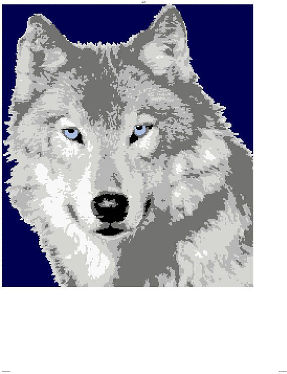 Wolf graph and written row by row pattern | Graph crochet, Wolf and ...