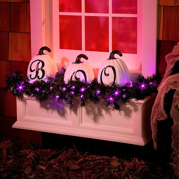 Improvements 3\u0027 Lighted Color Changing Black Halloween Garland ($50 - halloween lighted decorations