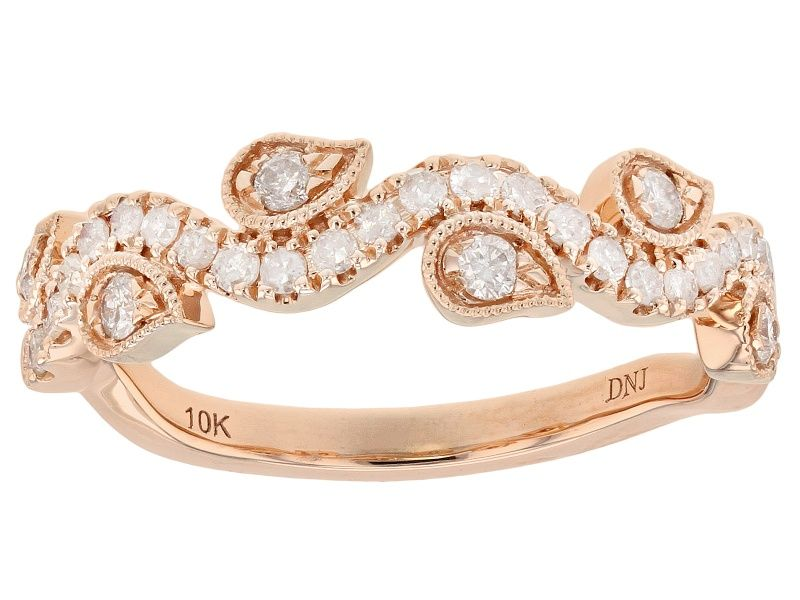 White Diamond 10k Rose Gold Ring 0 38ctw Cdg245 Rose Gold Band Ring Yellow Gold Rings Wedding Rings Rose Gold