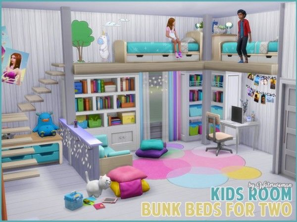 akisima sims blog children s room bunk beds for two sims 4 downloads sims 4 pinterest. Black Bedroom Furniture Sets. Home Design Ideas