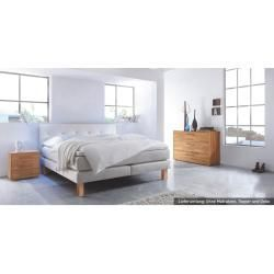 Box Spring Bed In Microfiber Like Fabric In Antique Leather Look