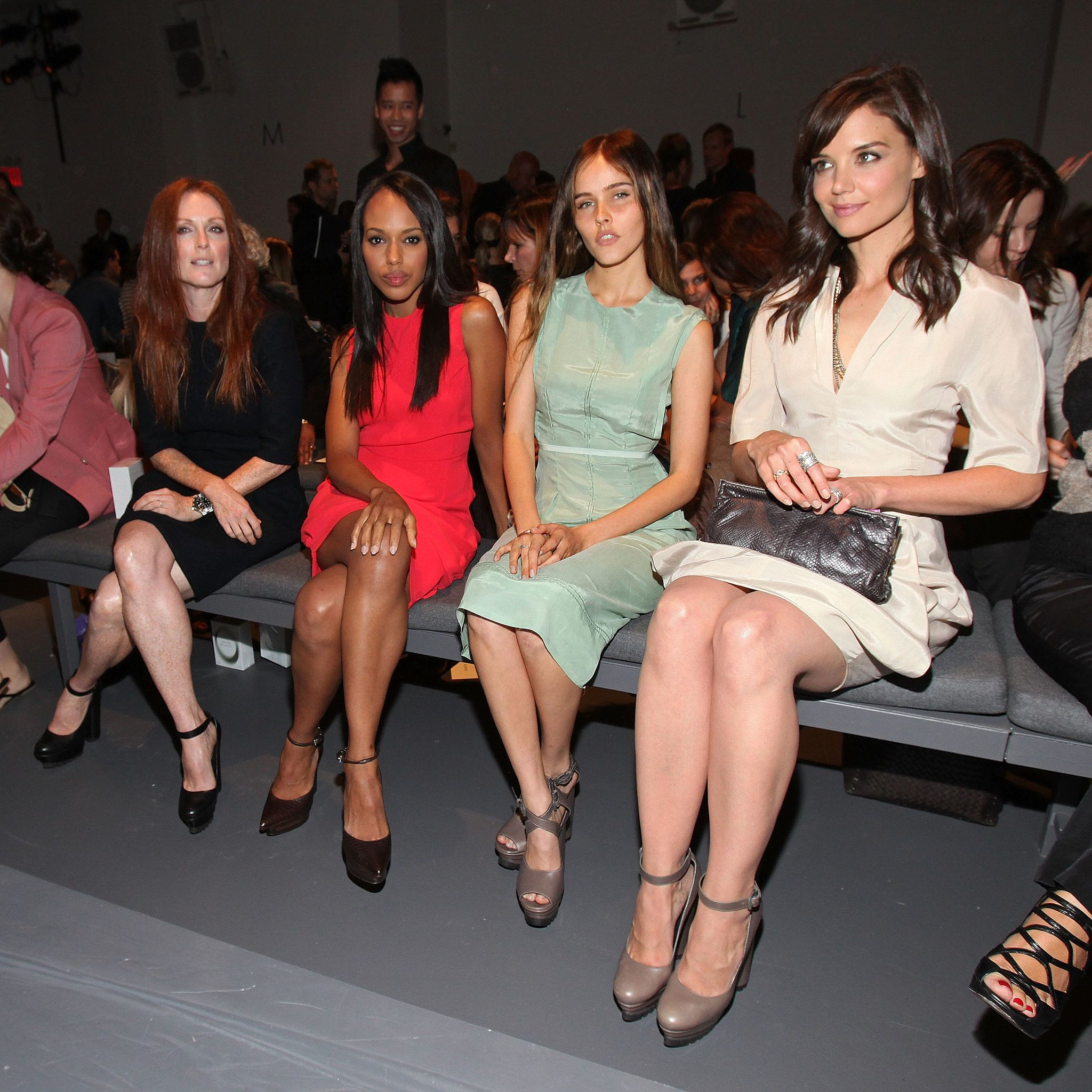 Julianne Moore Kerry Washington Isabel Lucas And Katie Holmes Were These Front Row Fashion Week Friends May Surprise You Katie Holmes Fashion Week Fashion
