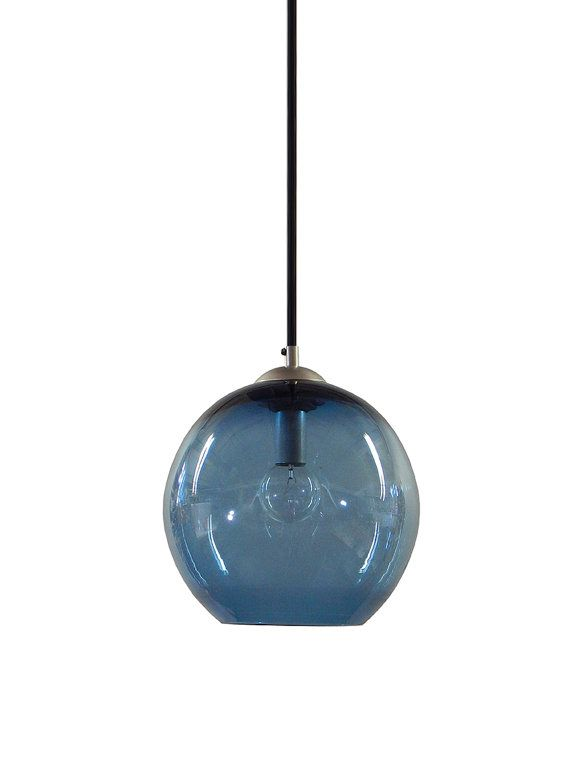 steel blue gumball hand blown glass pendant lighting bubble glass