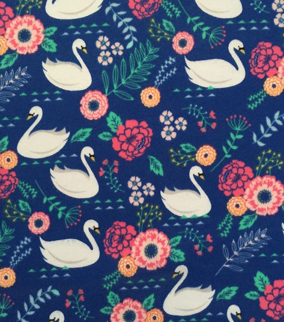 Swan Birds Lake Patterned Cotton JERSEY Stretch T-shirt Dress Dressmaking Fabric