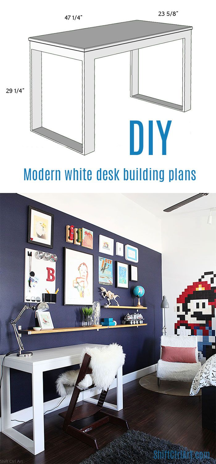 DIY desk building plans. Built with miter saw and Kreg jig. (Sizes could