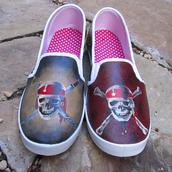 109058a9b3a3 Hand painted shoes Pirates of the Caribbean shoes. Each shoe is themed  specifically to a