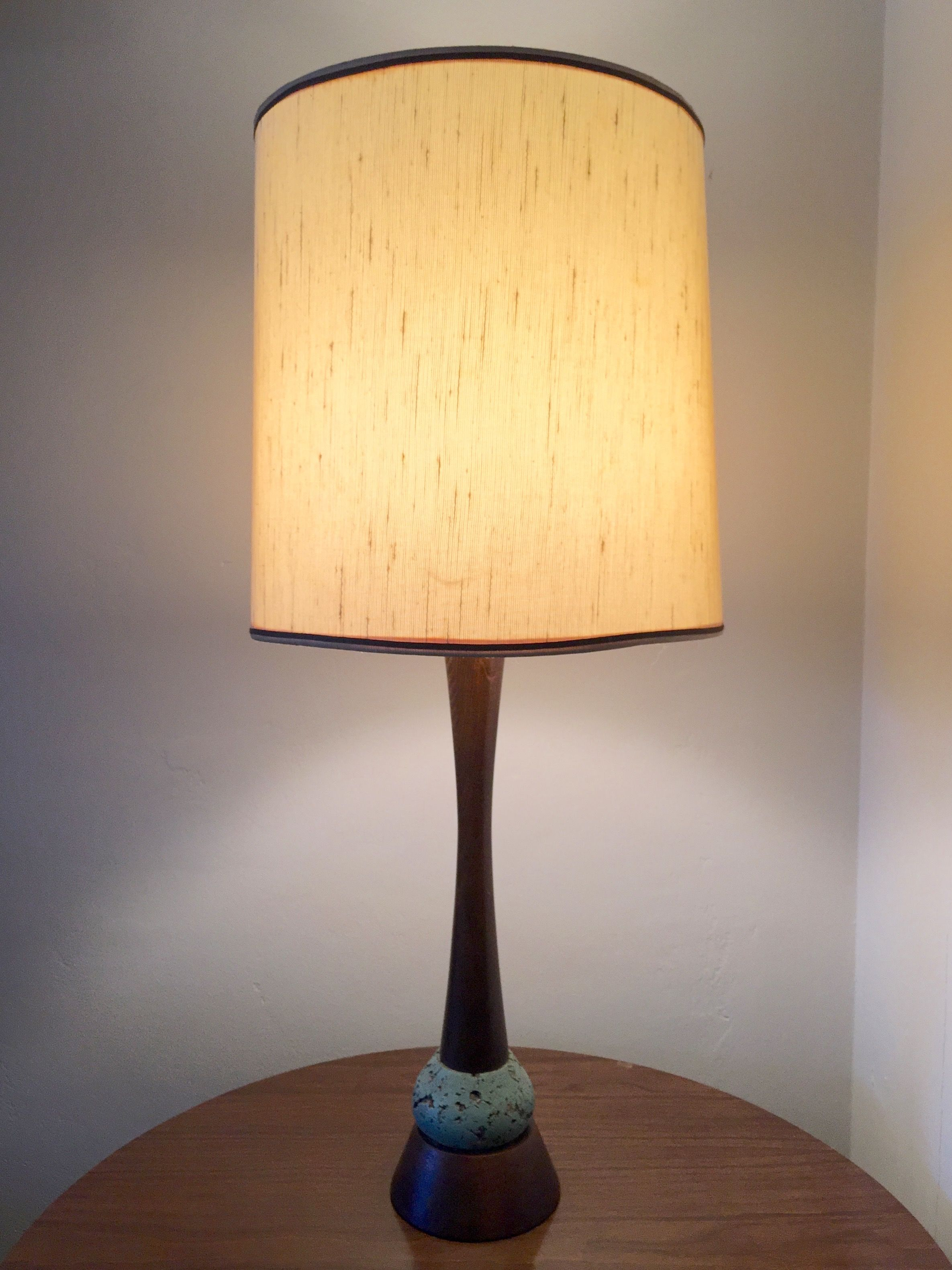 Lynard of california cork and walnut mid century modern table lamp lynard of california cork and walnut mid century modern table lamp geotapseo Image collections