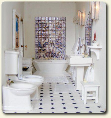 custom miniature art deco bathroom decor for a recreation of a