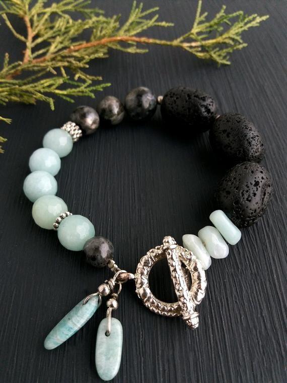 Photo of Lava stone Amazonite bracelet Healing stone jewelry Natural stone bracelets Gift for her Statement bracelet Gift idea Blue black bracelet