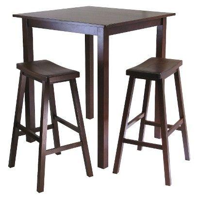 Superb 3 Piece Parkland High Table Set With 2 Stools Wood Antique Machost Co Dining Chair Design Ideas Machostcouk