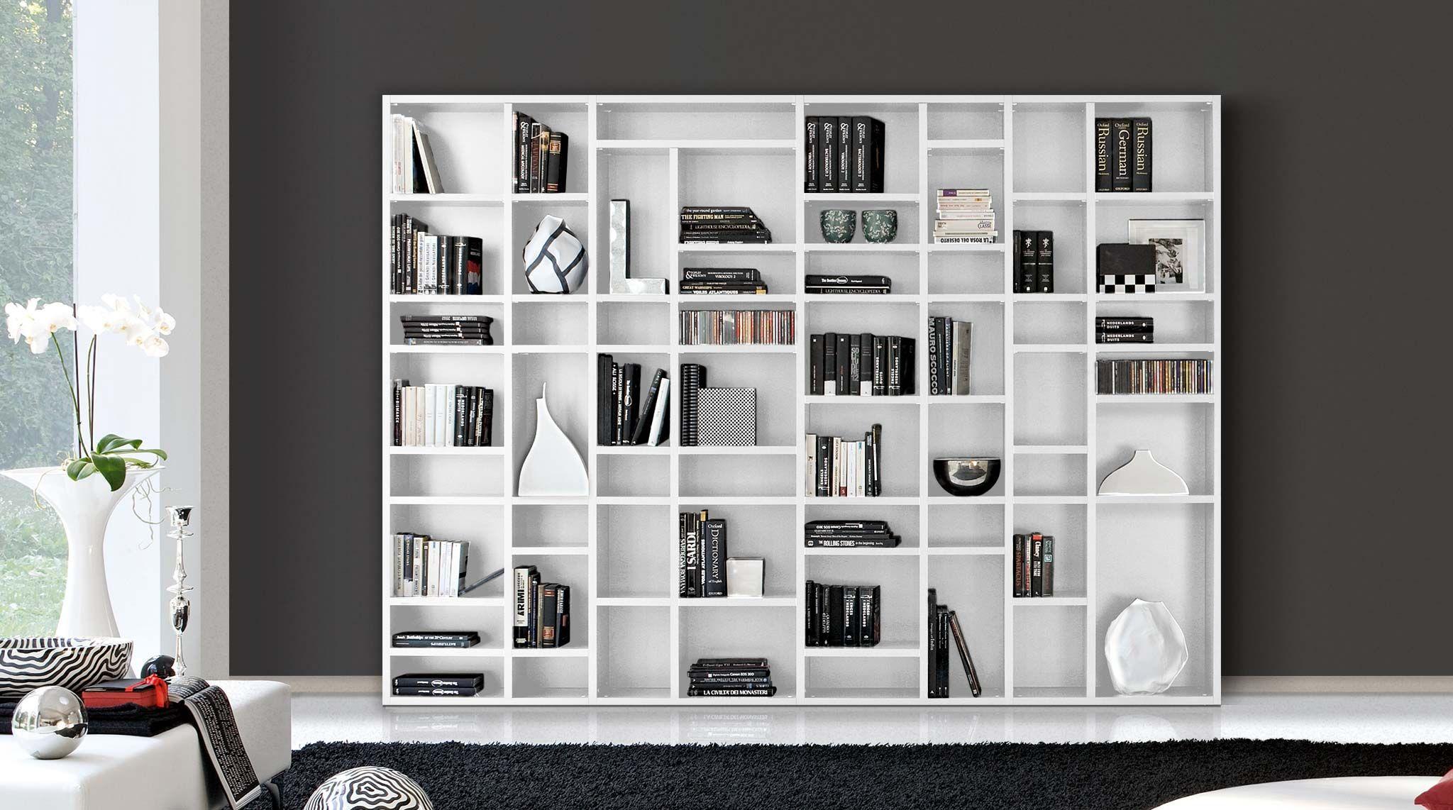 Librerie Parete Moderne.Libreria Componibile Moderna A Scaffali Easy Librerie Nel