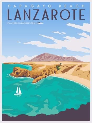 Art Deco Travel Posters Lovely Vintage Retro Holiday El Cotillo Canary Island