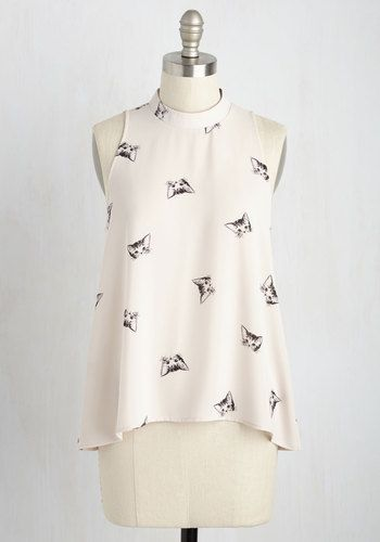 It's not any wonder you're so jazzed about this chiffon tank top - you always win when you wear it! At once sophisticated and playful, this ModCloth-exclusive top's refined mock neckline, billowing silhouette, neutral biscuit hue, and black kitty print give you tons of fashion points!
