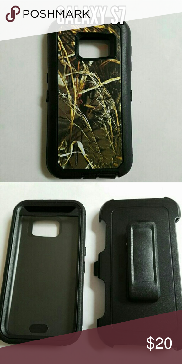 Galaxy s7 defender style Phone case Camo and black heavy duty 3 in 1 phone case for Samsung Galaxy s7. Protect your phone against scratches, dirt, and shock damage! Comes with built in screen protector and belt clip holster. Accessories Phone Cases