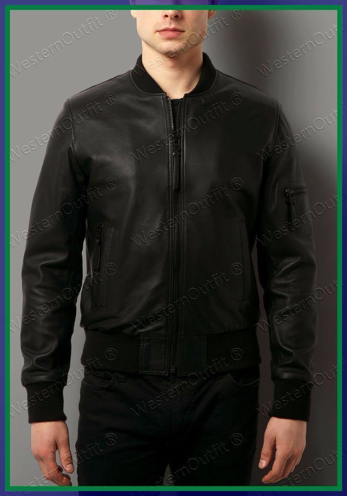 Mens Leather Jackets Motorcycle Bomber Biker Genuine Lambskin 58