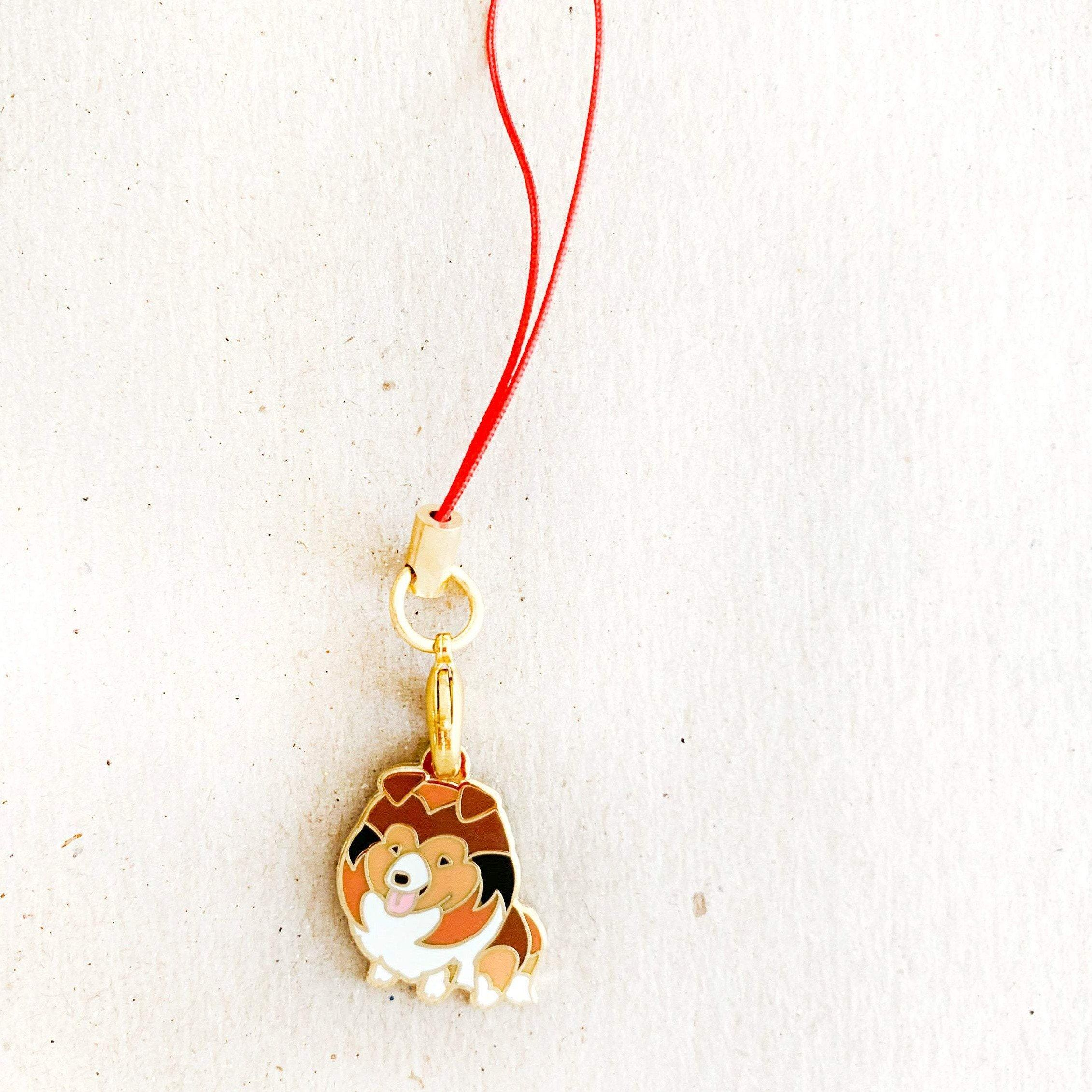 Enamel Charm - Collie Keychain (Sable and White)