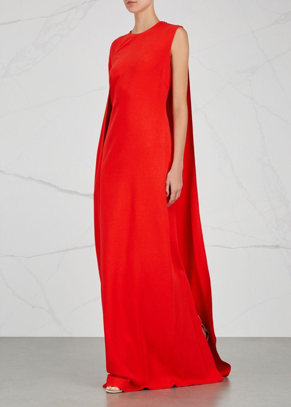 39b7e3e6dec48 Stella McCartney Cecilia bright red cape-effect gown | Vegas ...