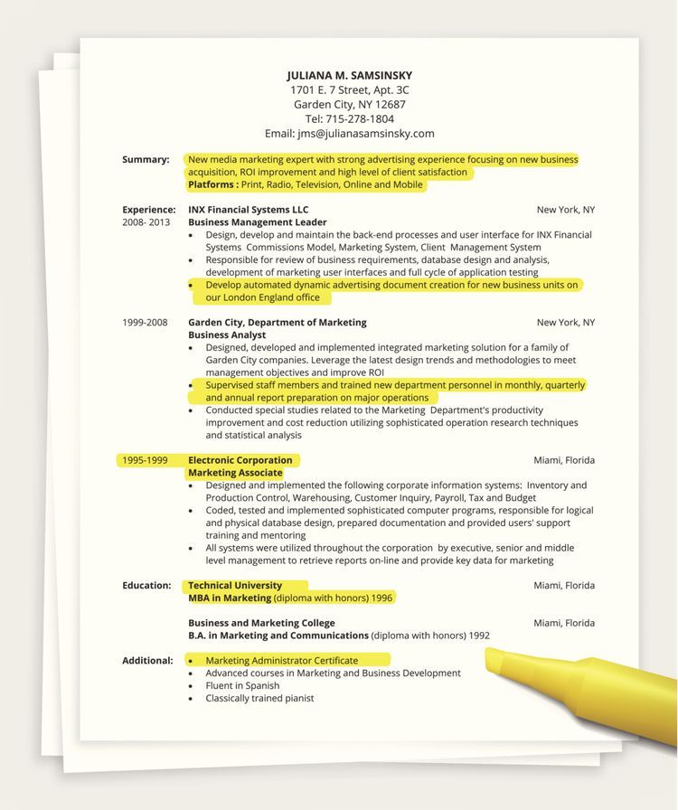 Tips On How To Write A One Page Resume Basic Resume One Page