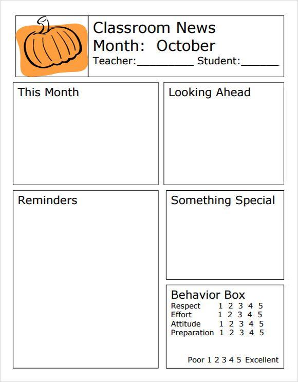 Classroom Classroom Newsletter Template