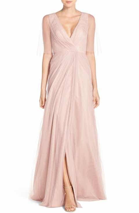 Monique Lhuillier Bridesmaids Sheer Capelet V-Neck Tulle A-Line Gown ...